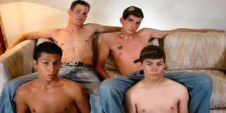 We get 4 broke straight boys together and convince one straight guy to suck them all off. The one  straight guy we convinced to do this was the most open guy there so we figured we had the best  chance with him to do this.