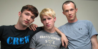 3 new broke straight boys in this hot scene.  Be sure not to miss Aiden, Torin and Steve.