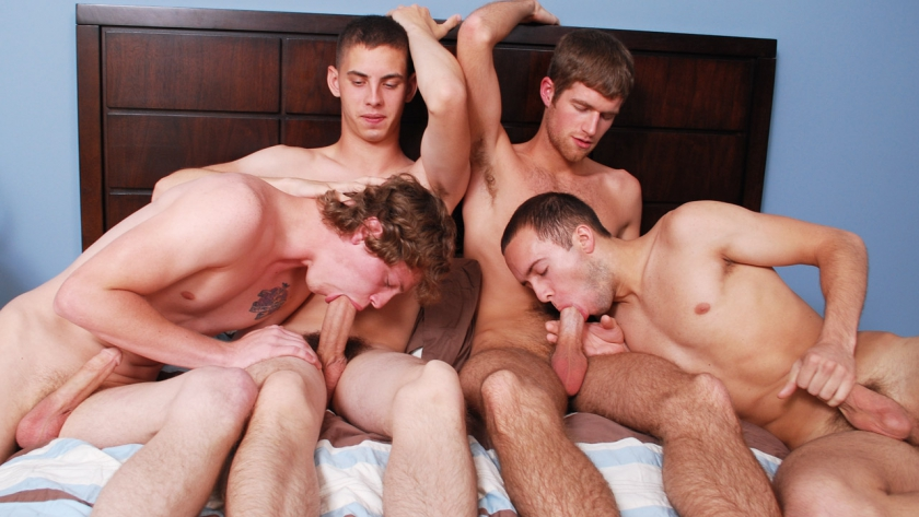 Who isn't in the mood for a four way with Blake, Brandon, Max and Sam? Brandon offers his holes for use, and the boys 