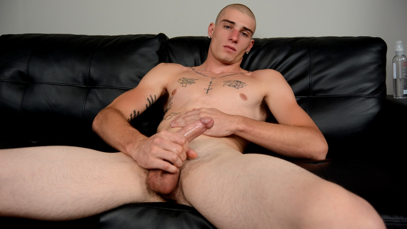 Cage is eager to make some money showing off for the camera. The fit 20-year-old has a rock hard  dick, and an open attitude. And his cum shot! Wow! Five spurts of man nectar that cover his  shoulder, chest and stomach.