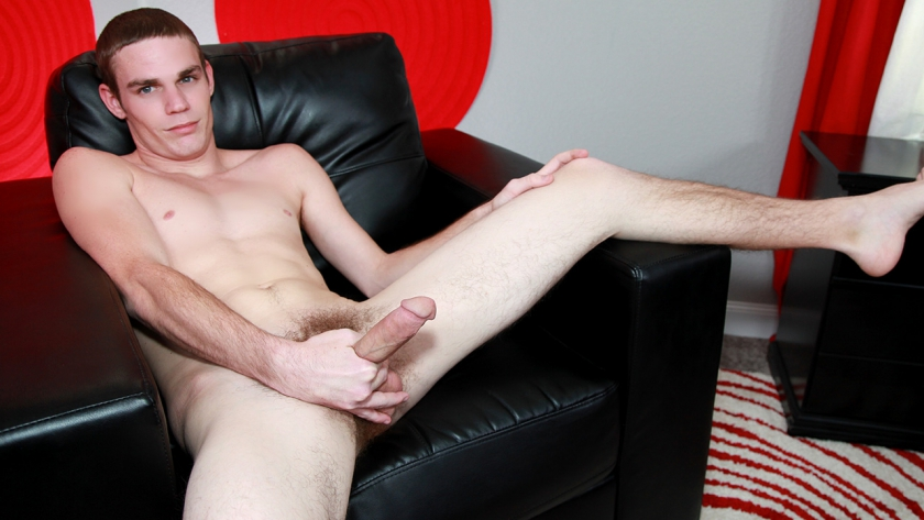 Newbie Kael Diggs confesses he's a bit of a freak. Made out with a guy once and had no problems.  The skinny southern lad is a perfect BSB fit. He's low key when it comes to beating his meat, but that  first cum stream lands on the middle of his stomach.