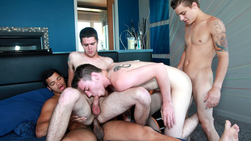 Do not miss this super sexy orgy scene starring Tyler White, Ryan Fields, Kaden Alexander, and  Skyler Daniels!  These boys know how to fuck, and put them all together and you've got a recipe  for one hot fuck fest!