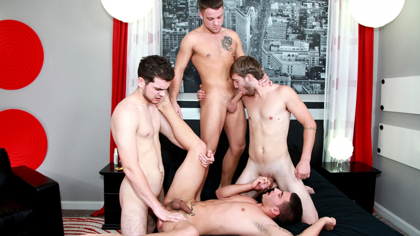 Vadim Black, Zeno Kostas, Blake Savage and Brandon Beal are 4 very horny hotties who can't wait 