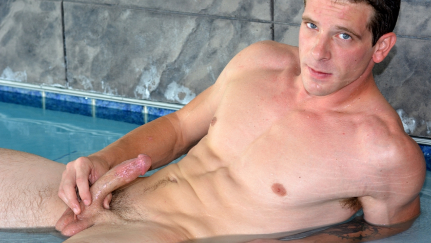 Cooper Douglas is fresh meat, and we're breaking him in with a poolside solo scene!  This stud isn't 