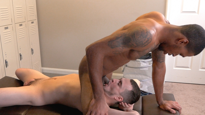 David Hardy shows Brice Jones how to give a guy head, and it's clear that Brice loves learning by  example!  Watch as he shoots a huge load after getting his dick sucked by David!