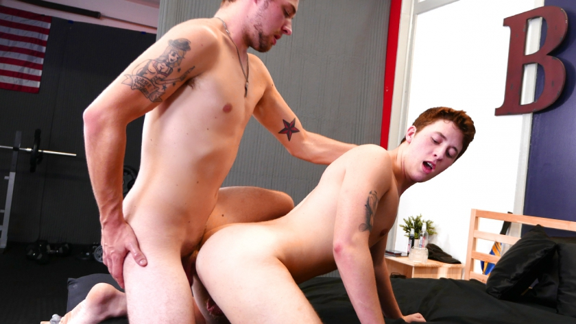 John Henry dominates Danny Cannon's tight little ass, spreading those cheeks and sticking him 