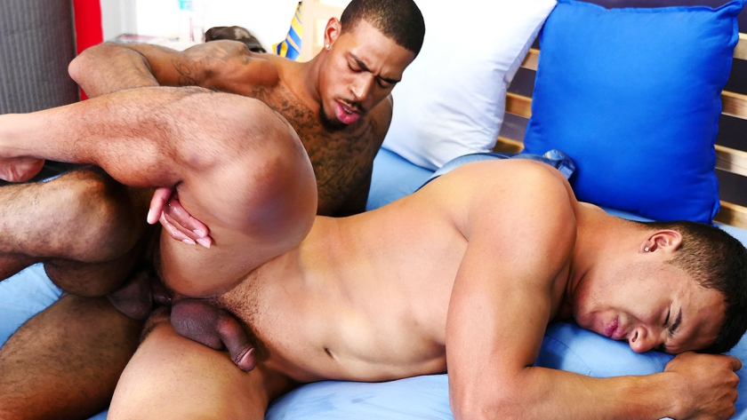 Devon Felix gets his ass pounded by Brice Jones's long, hard and bareback cock!  These two sexy 