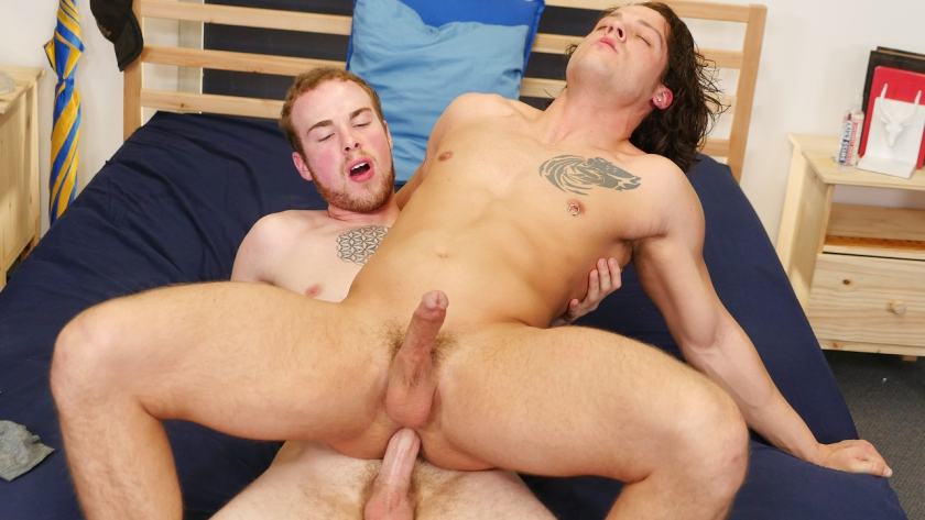 Zeno Kostas shows Kaden Porter some of his hot strip moves and Kaden can't help but bury his face 