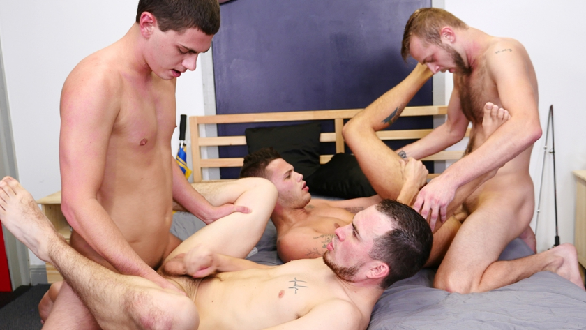Tyler Griffin, Gage Owens, Chandler Scott and David Hardy fuck hard and raw in this sexy foursome 