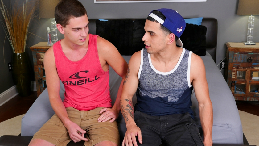 Tyler makes Junior feel good in this hot scene as they make out, suck cock, and fuck hard until  both  guys shoot a huge load!