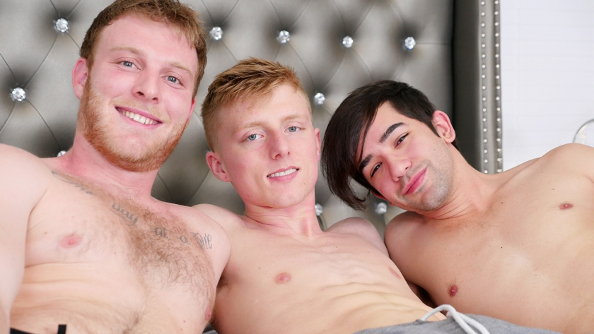 A fun threesome between Benjamin, Jos and Richie. Richie gets a taste of dick and his hole filled!