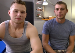 Alex Greene is the next victim of Owen Michael's big cock and even bigger muscles, letting him fuck 